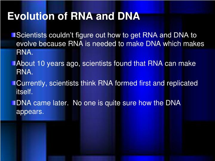 Evolution of RNA and DNA