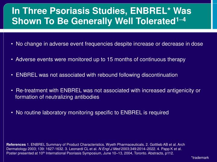 In Three Psoriasis Studies, ENBREL* Was Shown To Be Generally Well Tolerated