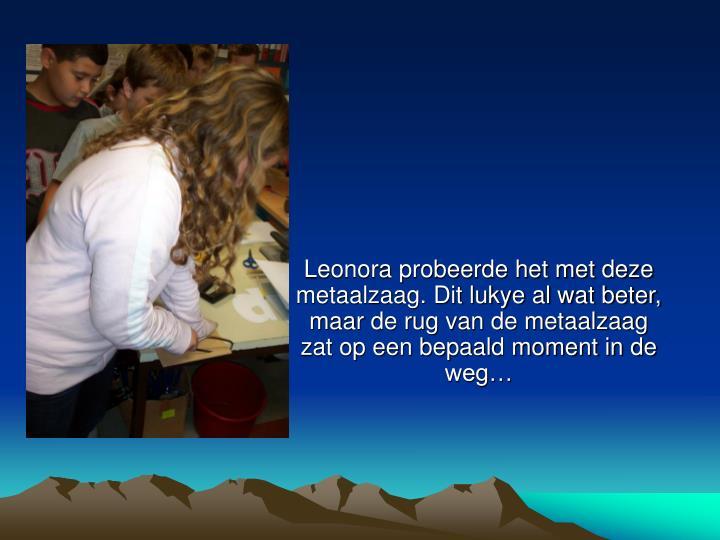 Leonora probeerde het met deze metaalzaag. Dit lukye al wat beter, maar de rug van de metaalzaag zat...