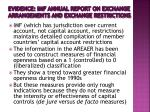 evidence imf annual report on exchange arrangements and exchange restrictions