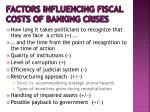 factors influencing fiscal costs of banking crises