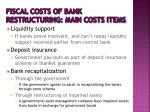 fiscal costs of bank restructuring main costs items