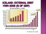 iceland external debt 1989 2008 of gdp
