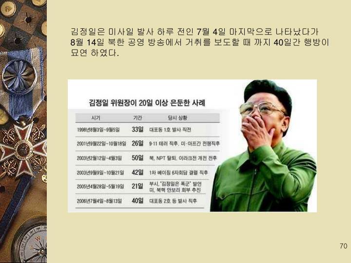 김정일은 미사일 발사 하루 전인