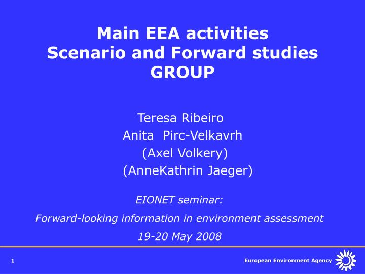 main eea activities scenario and forward studies group n.