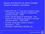 recent contributions to other foresight research projects processes