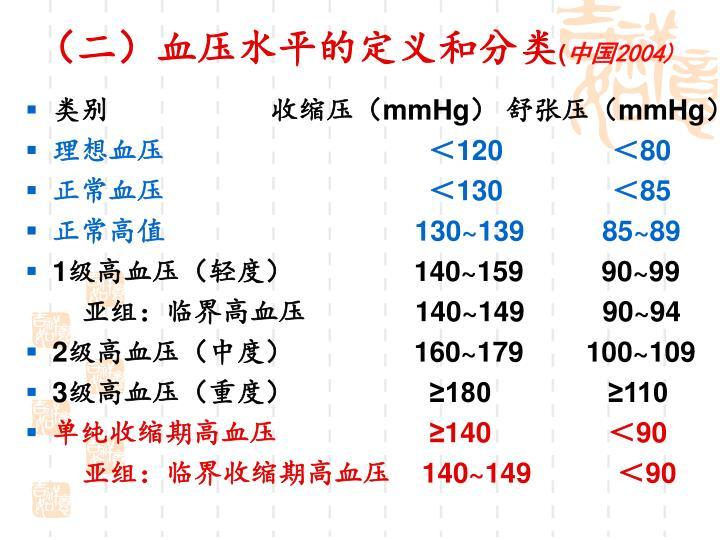 (二)血压水平的定义和分类