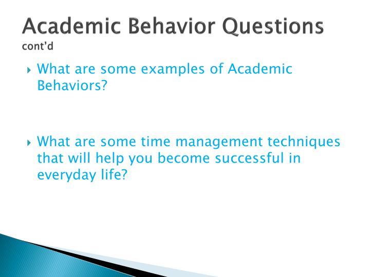 Academic Behavior Questions