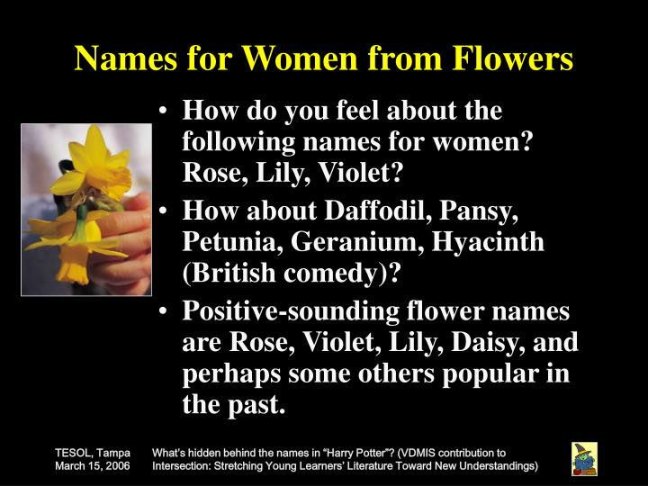 Names for Women from Flowers