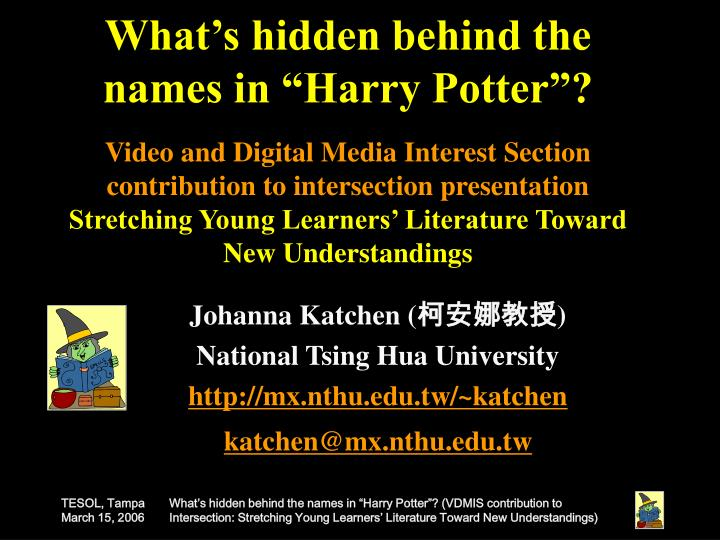 "What's hidden behind the names in ""Harry Potter""?"