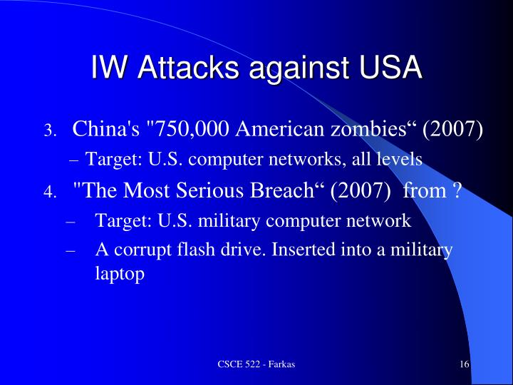 IW Attacks against USA