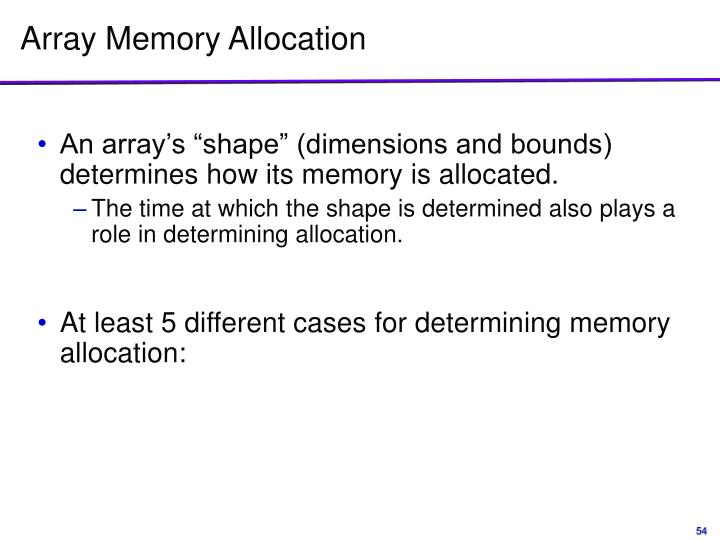 Array Memory Allocation