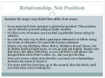 relationship not position