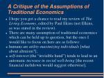 a critique of the assumptions of traditional economics