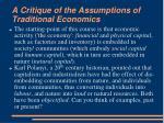 a critique of the assumptions of traditional economics2