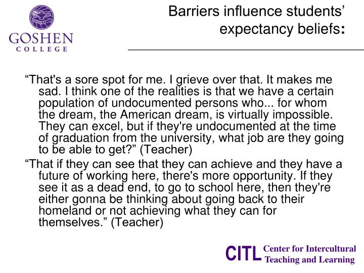 Barriers influence students'