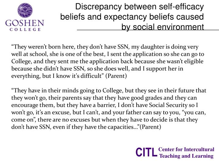 Discrepancy between self-efficacy beliefs and expectancy beliefs caused by social environment