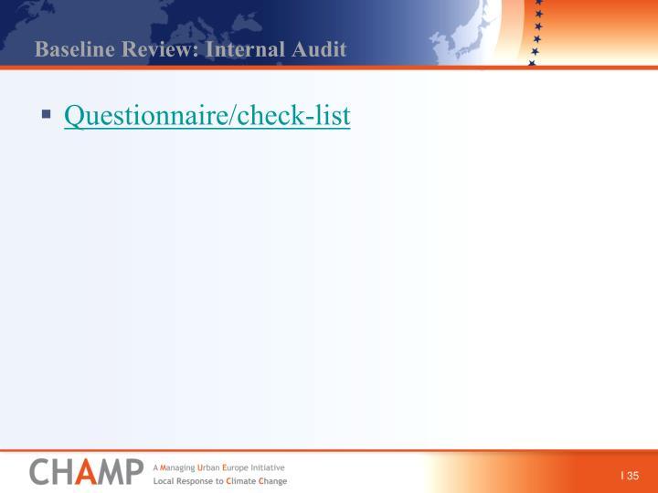 Baseline Review: Internal Audit