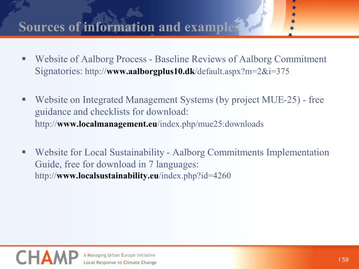 Sources of information and examples