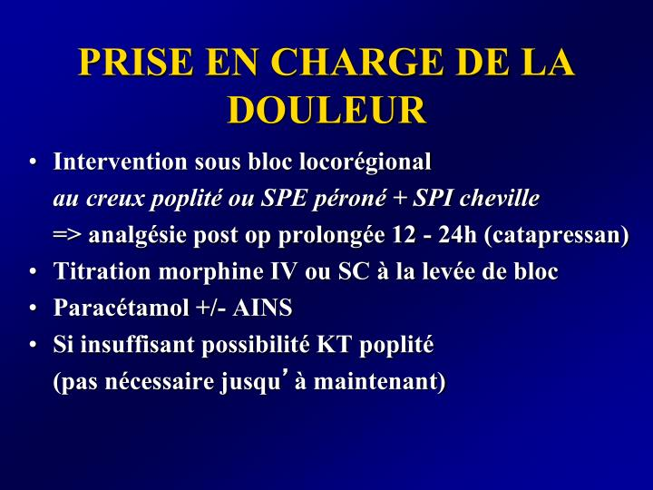 PRISE EN CHARGE DE LA DOULEUR