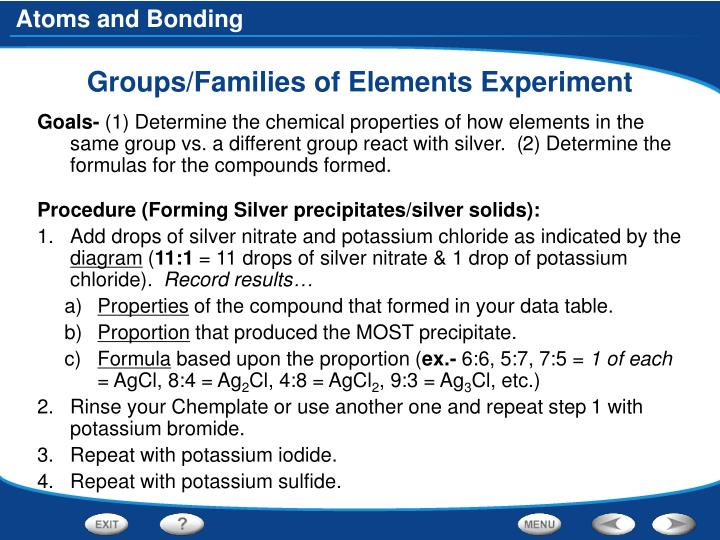 Groups/Families of Elements Experiment