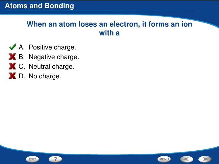 When an atom loses an electron, it forms an ion with a