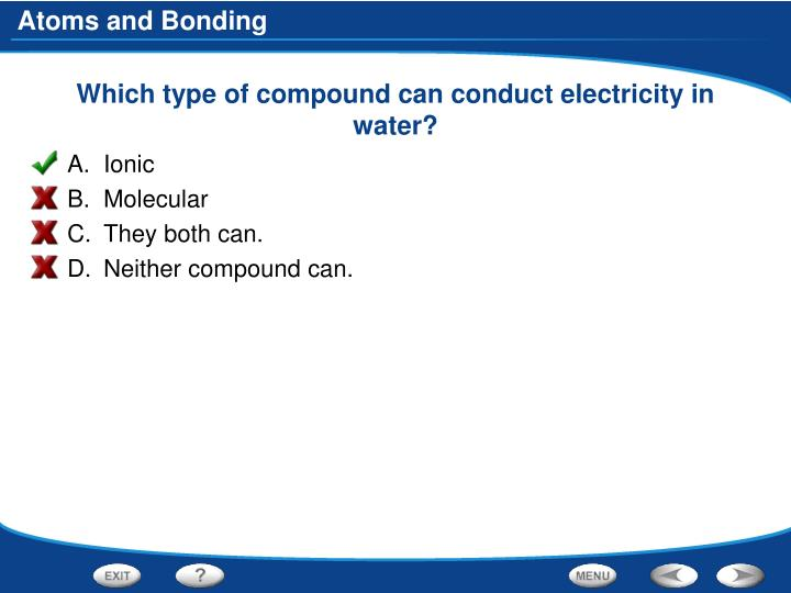 Which type of compound can conduct electricity in water?
