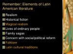remember elements of latin american literature