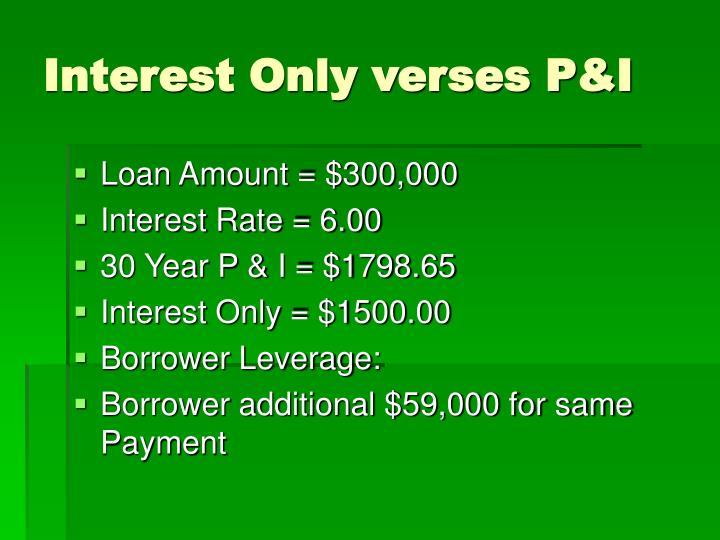 Interest Only verses P&I