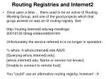 routing registries and internet2