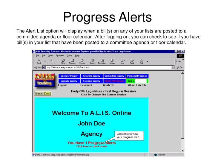 Click here to view your progress alert.