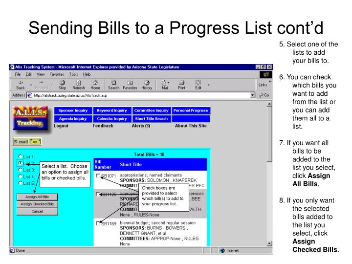 Check boxes are provided to select which bill(s) to add to your progress list.