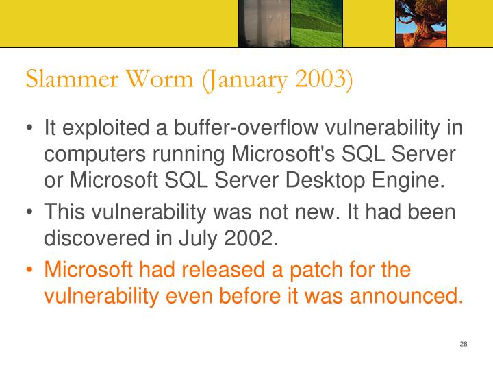 Slammer Worm (January 2003)