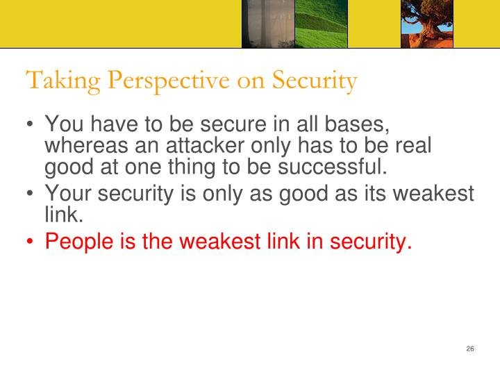 Taking Perspective on Security