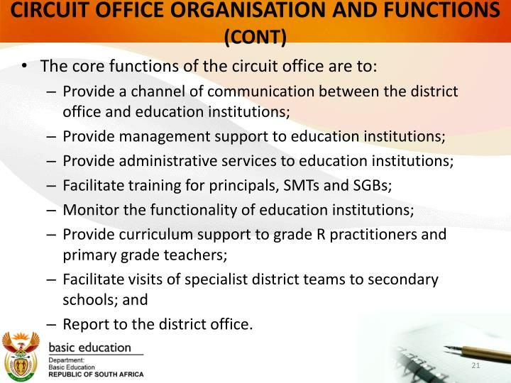 CIRCUIT OFFICE ORGANISATION AND FUNCTIONS