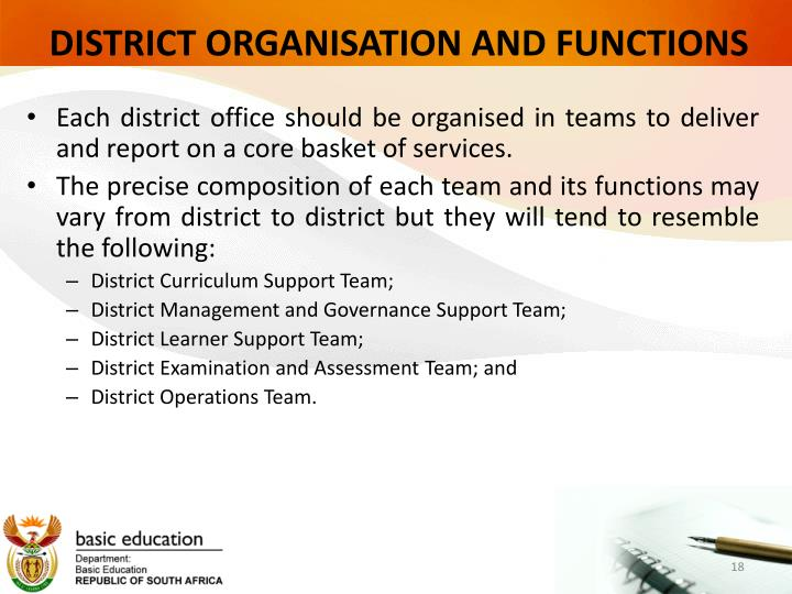 DISTRICT ORGANISATION AND FUNCTIONS