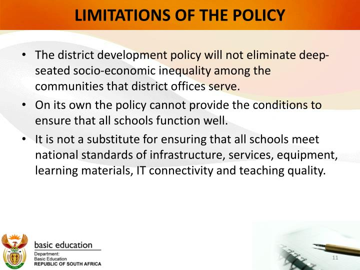 LIMITATIONS OF THE POLICY