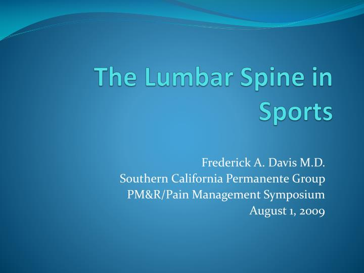 the lumbar spine in sports n.