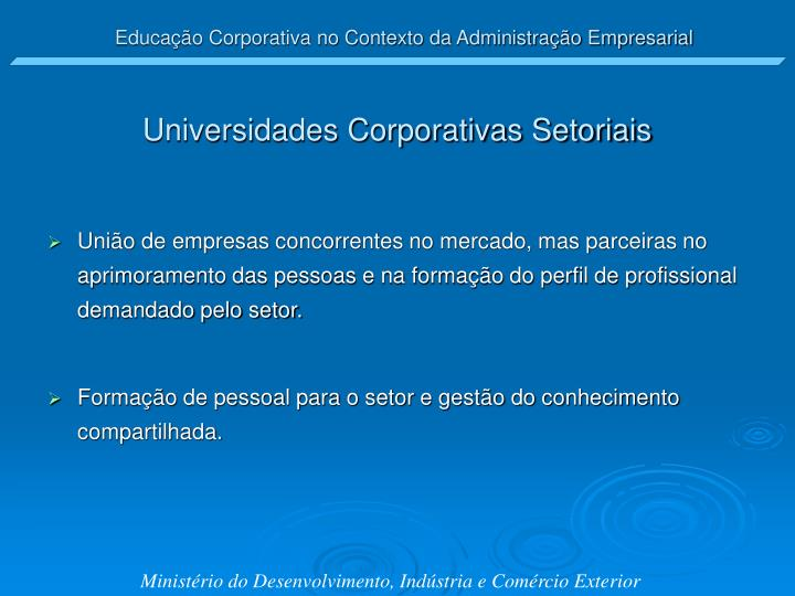 Universidades Corporativas Setoriais