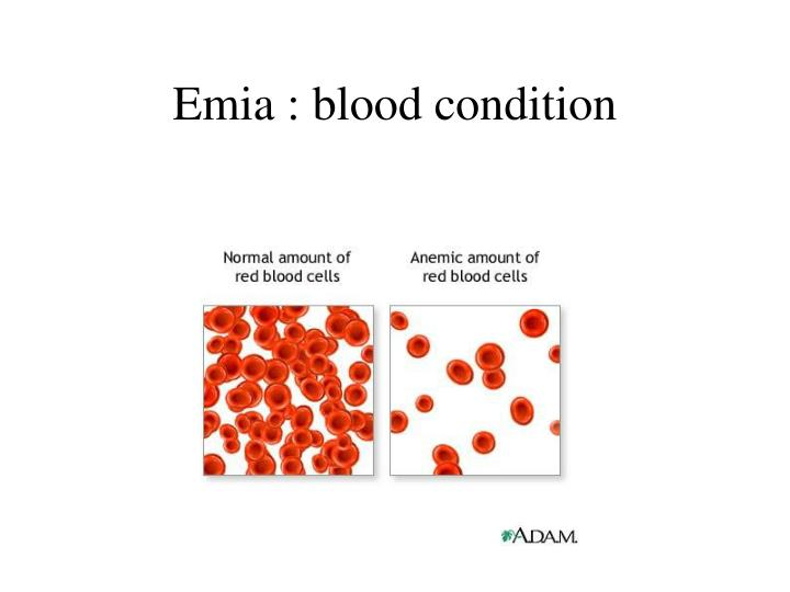 Emia : blood condition