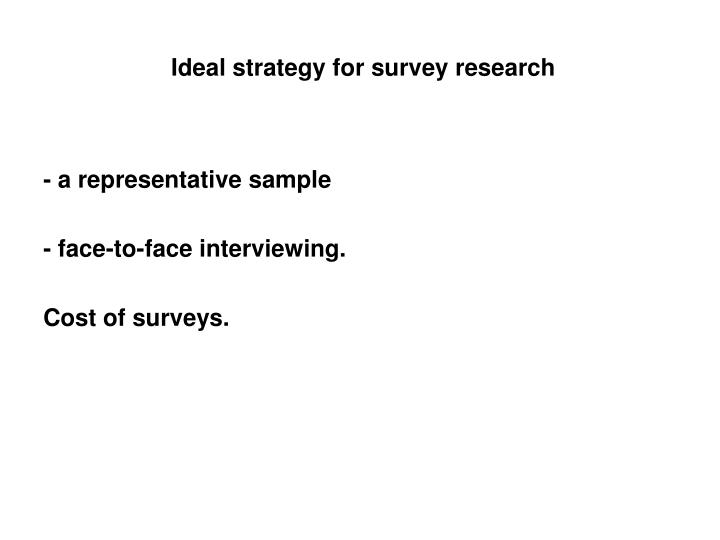 Ideal strategy for survey research