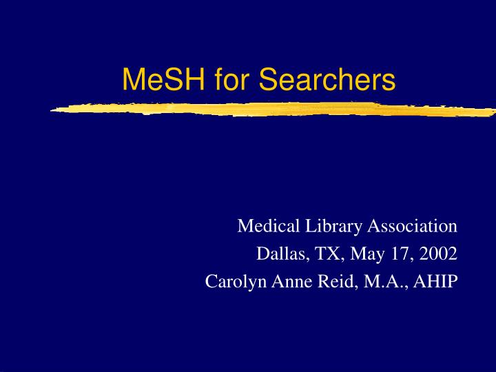 mesh for searchers n.
