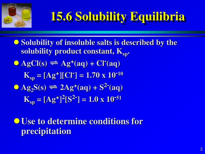 determination of the solubility product constant of a salt Equilibrium constant expressions for solubility equilibria e solubility of barium hydroxide in a barium nitrate solution determination of precipitation from a mixture of solutions e effect of adding a salt to a saturated solution e generating the net ionic equation for a precipitation reaction.