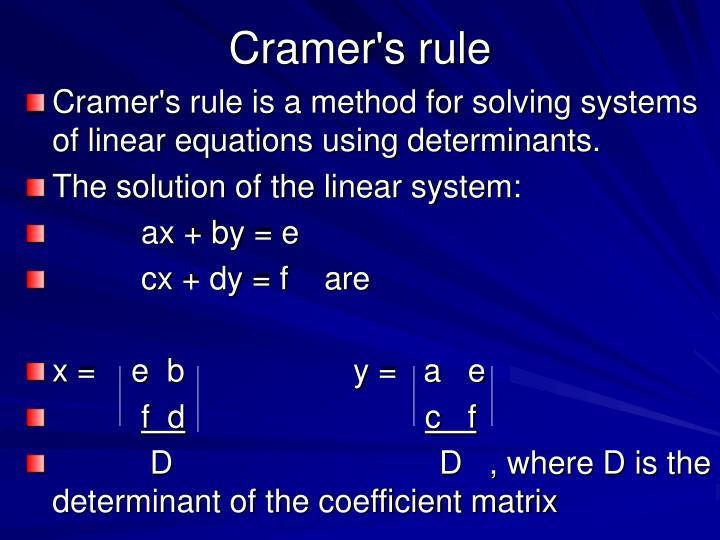 Cramer s rule