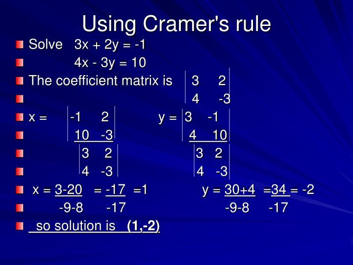 Using Cramer's rule