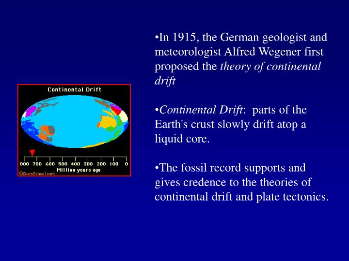 an analysis of the continental drift theory to geological earths geological positioning