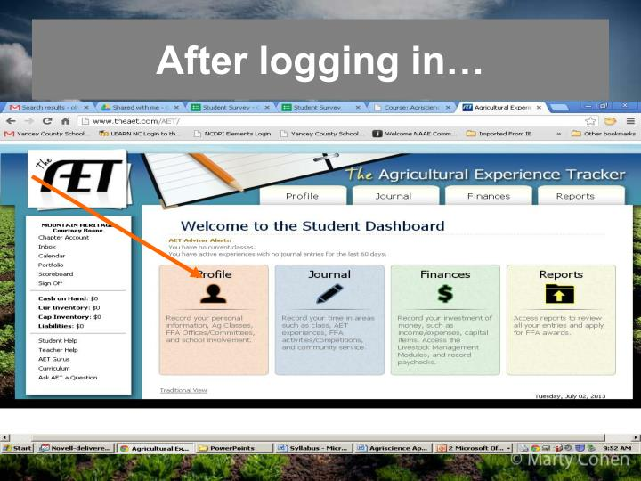 After logging in…