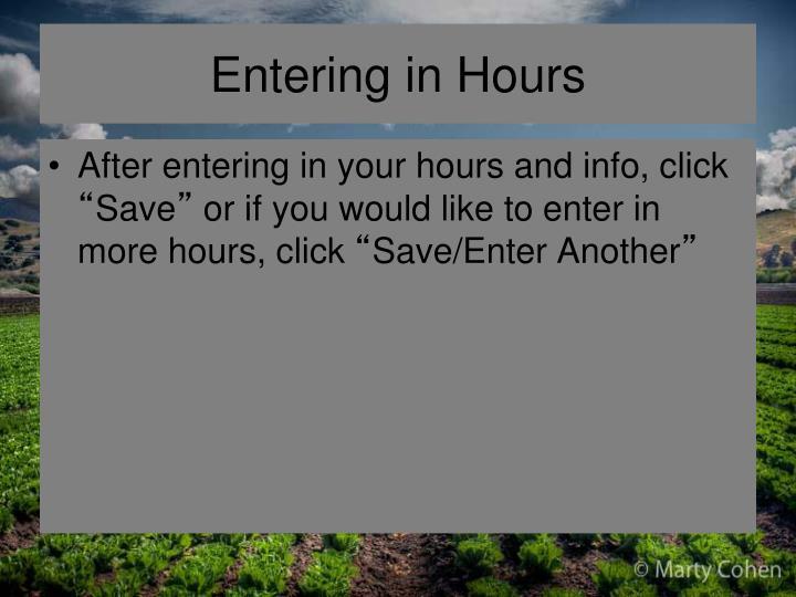 Entering in Hours