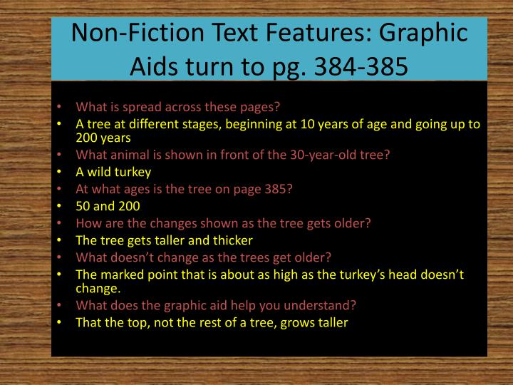 Non-Fiction Text Features: Graphic Aids turn to pg. 384-385