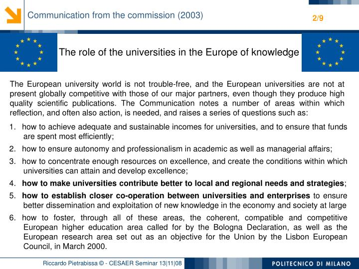 Communication from the commission (2003)